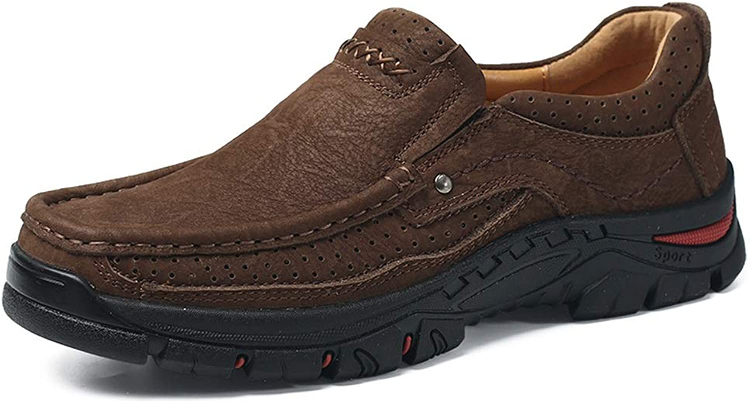 Fashion Sneakers for Men Walking Hiking shoes Lace Up Casual Slip On Round Toe Anti-Slip Leather Upper Outdoor Trekking shoes Wear Resistant (color   Darkbrown, Size   9.5 D(M) US)