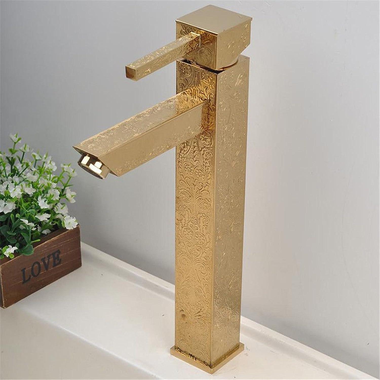 ETERNAL QUALITY Badezimmer Waschbecken Wasserhahn Messing Hahn Waschraum Mischer Mischbatterie Tippen Sie auf Das Mischen von heiem und kaltem Wasser die Golden Dragon T