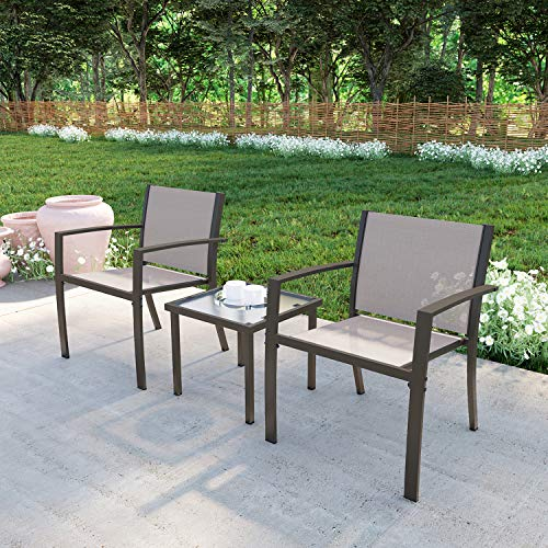 Garden Furniture Set, 3 Piece Garden Patio Sofa Set, Garden Table and Chairs 2 Seater Indoor Outdoor Patio Backyard Poolside【2 Arm Chairs + 1 Glass Coffee Table】 (Brown)