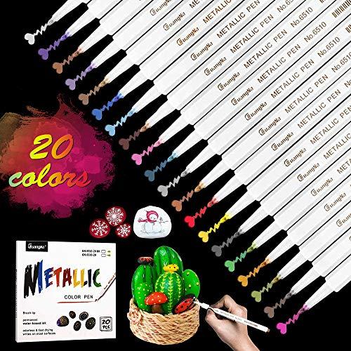 Rotuladores metálicos, rotuladores de pintura metálica CoolBa 20 colores para álbumes de recortes, manualidades de arte de álbum de fotos de bricolaje, fabricación de tarjetas, metal y cerámica