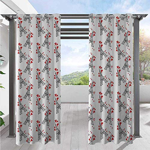 Indoor/Outdoor Curtains Hand Drawn Style Paris Landmark Towers with Sketchy Hearts Romance Love Travel Indoor/Outdoor Cabana Curtain Create A Comfy Homey Environment Red Black White W84 x L96 Inch