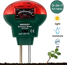 LinTimes Soil PH Meter, 3-in-1 Soil Test Kit for Moisture, Light, PH