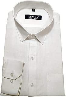 SOMET Men's White 100% Linen Cotton Slim Fit Full Sleeves Formal Shirts