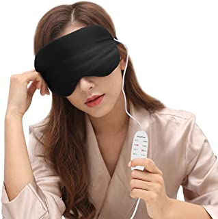 DTOWER Heated Eye Mask USB Warm Sleep Silk Steam Mask, Far-Infrared Health Care, Warm Therapeutic Treatment for Dry Eye, Dark Circles with Adjustable Strap, Washable Silk Eye Cover, 6.5 ft cable
