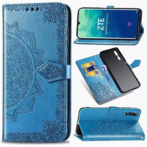 ZTE Axon 10 Pro 5G Hülle, SATURCASE Mandala Prägung PU Lederhülle Magnetverschluss Brieftasche Kartenfächer Standfunktion Handschlaufe Schutzhülle Handyhülle Tasche Hülle für ZTE Axon 10 Pro 5G (Blau)