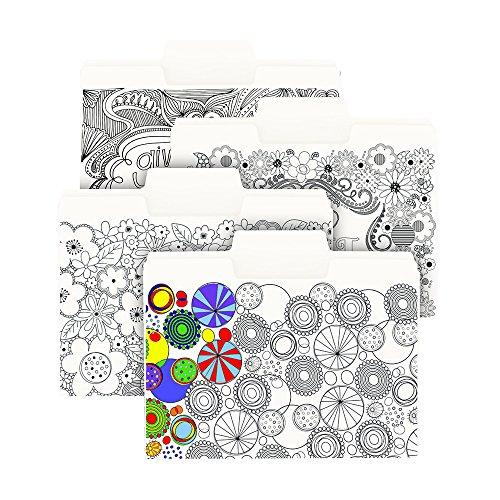 Smead SuperTab Coloring File Folder, Oversized 1/3-Cut Tabs, Letter Size, 4 Designs, 12 per Pack (11648)