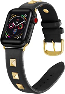 Libra Gemini Compatible with Apple Watch Band 38mm 40mm Leather, Genuine Leather Rivet Designer Replacement Bands with iWatch Series 4 3 2 1 (Black)