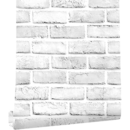 Cohoo Home White Gray Peel And Stick Wallpaper Brick Contact Paper 120 18 Faux 3d