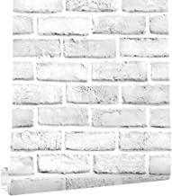 "Cohoo Home White Gray Peel and Stick Wallpaper Brick Contact Paper 118"" ×18"" Faux 3D Brick Wall Paper White Grey Self Adhe..."