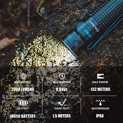 Olight Baton Pro Rechargeable LED Torch Flashlight, Max 2000 Lumens Pocket Portable and Handheld Light for Dog Walking, Hiking, Camping and Other Outdoor Activities