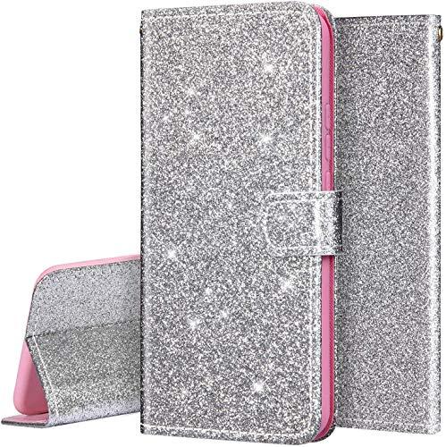 Surakey PU Leder Hülle für Huawei P Smart 2020 Handyhülle Schutzhülle Glänzend Bling Glitzer PU Tasche Leder Flip Case Brieftasche Etui Wallet Case Handytasche Ständer Kartenfächer, Silber