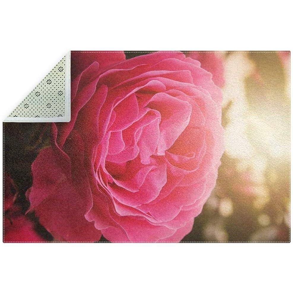 力学触手石灰岩AyuStyle ラグ カーペット ラグマット フロアマット バラ 花 ピンク 満開 180×120CM マット 長方形 絨毯 リビング 床暖房対応 こたつ敷き 滑り止め付 部屋の装飾