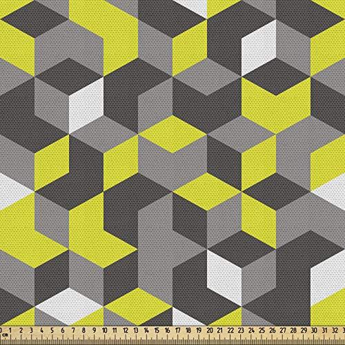 ABAKUHAUS Senfgelb Stoff als Meterware, Moderne Box Würfel, Qualität aus Gewebten Stoff Wohnaccessoires, 5M (148x500cm), Senf Gelb Weiß und Schwarz