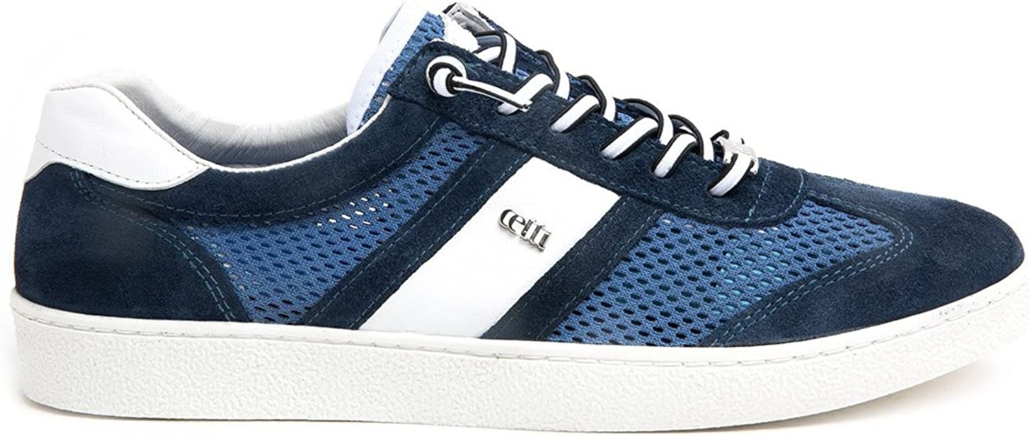 Cetti C1131, City Sneakers for Men, bluee Suede