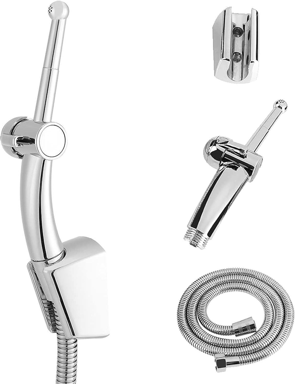 Ducha de ducha de 7 hoyos Home Shower Enema Kit + 59 pulgadas Manguera y gancho(Plateado)