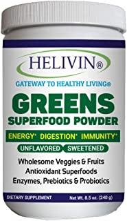 Helivin Greens Superfood Powder - Natural Raw Plant Nutrition with Superfoods, Antioxidants, Digestive Enzymes, Fiber, Pre...