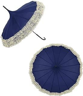 ZQQ Pagoda Umbrella, Vintage Lace Umbrella Female Bride Wedding Uv Protection with Hook Long Handle Decoration