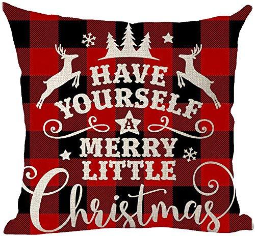 Mesllings Happy New Year Have Yourself A Merry Little Christmas Deer Star Snowflakes - Funda de almohada decorativa con diseño de copos de nieve, color rojo, para el hogar, la sala de estar, la cama, el sofá, el coche, de algodón y lino, cuadrada, 45,7 x 45,7 cm