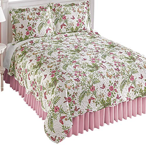 Check Out This Pink Spring Flowers and Butterflies Quilt - All-Over Quilted Texture, Scalloped Edges...