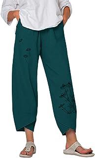 DELIMALI Women ' s Loose Pants, Ladies Butterfly Dandelion Print High Waist Trousers
