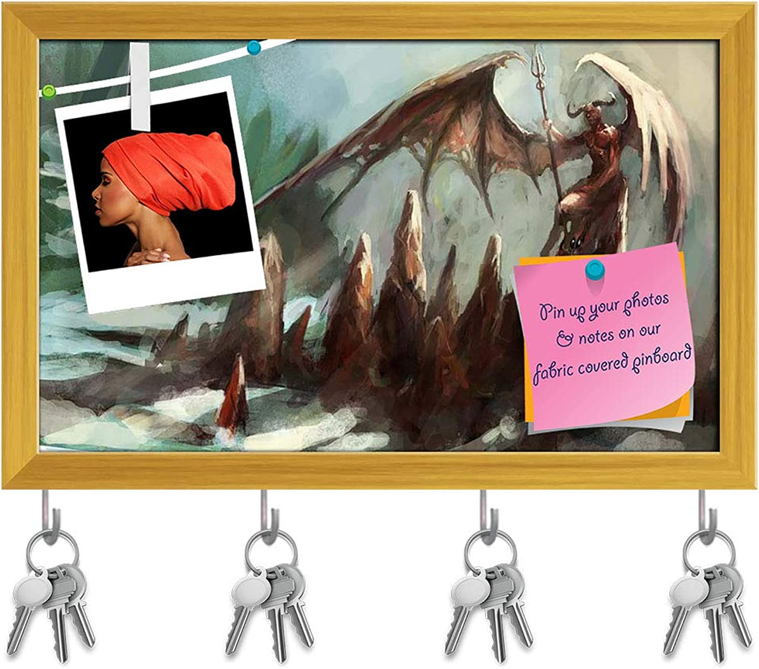 Artzfolio Hell with Lucifer Key Holder Hooks   Notice Pin Board   golden Frame 15.8 X 10Inch