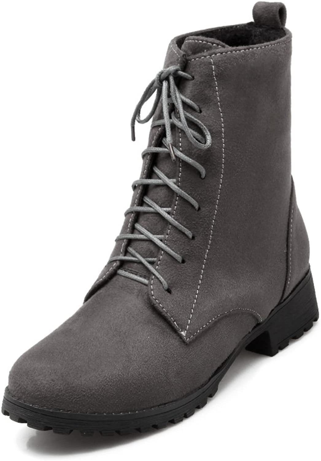 Lucksender Womens Fashion Round Toe Low Heel Lace Up Martin Boots