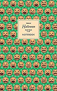 Halloween Notebook - Ruled Pages - 5x8 - Premium: (Green Edition) Fun Halloween Jack o Lantern notebook 96 ruled/lined pag...
