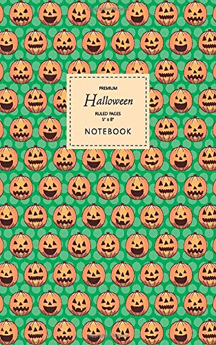 Halloween Notebook - Ruled Pages - 5x8 - Premium Cuaderno (Green)