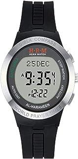 HXZB Azan Watch, Calendrier Numérique Étanche Montre-Bracelet avec La Prière Mondiale Temps Qibla Compass, Muslim Montre C...