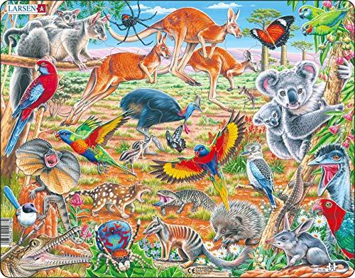 Larsen FH45 La Fauna Unica dell'Australia, Puzzle Incorniciato con 60 Pezzi