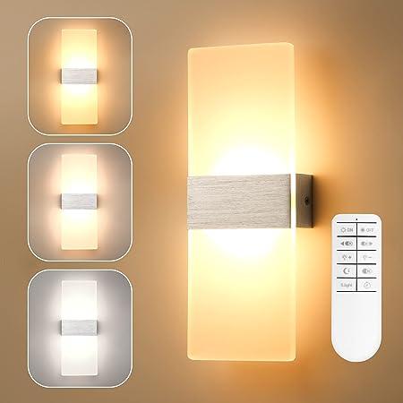 Yafido 290MM Dimmable LED Applique Murale Intérieure 750LM avec Télécommande 12W LED Lampe Murale Interieur en Argent Brossé 2700K-6000K Blanc Chaud / Blanc Froid AC220V