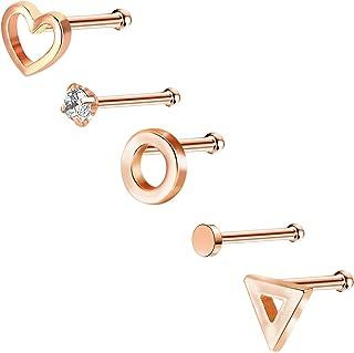 Nose Ring Heart Nose Stud 14K Rose Gold Nose Ring Set Nose Piercing Jewelry