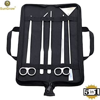 SunGrow Aquarium Tool Kit (5pcs) by Perfect Aquascaping Tools - Includes Straight & Curved Scissors, Substrate Spatula, Straight & Bent Tweezers - Stainless Steel - No Rust - Convenient Operation