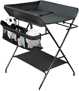 Black Baby Changing Table  PU Leather Cushion   Foldable Diaper Changing Stations Unit  Nursery Dresser Organizer  Color Style