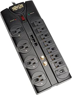 Tripp Lite 12 Outlet Surge Protector Power Strip, 8ft Cord, Right-Angle Plug, Tel/Modem/Coax/Ethernet Protection, RJ11, RJ45, & $250,000 INSURANCE (TLP1208SAT)