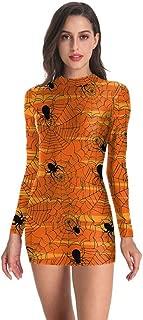 TIANMI Women Round Neck Halloween Dress Punk Skeleton Print Bloodstain Dress Long Sleeve Fashion Slim Short Dress