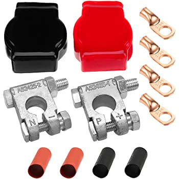 Ampper Military Spec Battery Terminal Top Post Kit with Cover, 4 Copper Lugs and Heatshrink for Marine Car Boat RV Vehicles and More (Kit)