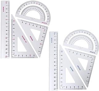 Mathematik WentingZWT Lineal 4 St/ück Dreieck Geometrie Schreibwaren Zeichnungen f/ür Studenten Winkelmesser