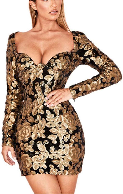 Women Sweet Heart Long Sleeve Hip Dress Glitter Sequin Floral Bodycon Mini Dress Cocktail Evening Party Dress Nightwear Clubwear Dress (color   Black, Size   M)