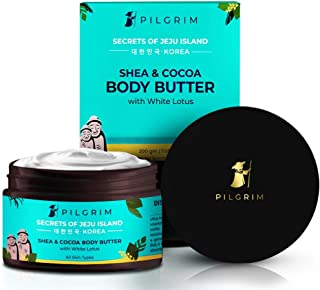 Pilgrim Shea & Cocoa Body Butter for Dry Itchy Skin, Stretch Marks, Deep Nourishment and Moisturising, Men and Women, Kore...