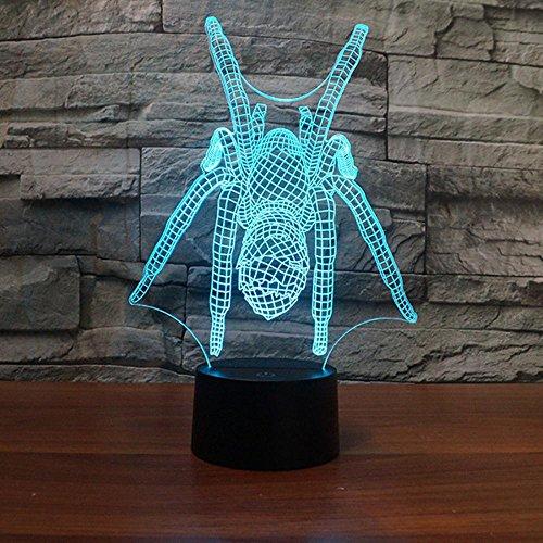 Lozse Araignée de lampe illusion 3D lampe led petite veilleuse