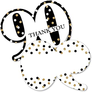 Adult 90th Birthday - Gold - Shaped Thank You Cards - Birthday Party Thank You Note Cards with Envelopes - Set of 12
