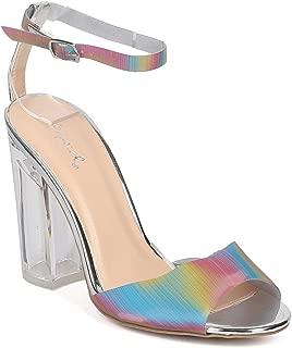 Women Mixed Media Rainbow Peep Toe Lucite Block Heel Sandal GF31