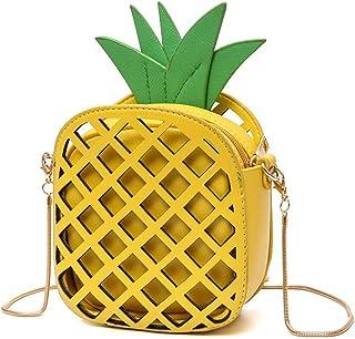 Small Crossbody Bag Cute Cartoon Purse Pineapple Fruit Shape Shoulder Bag PU leather Handbag Clutch for Womens Girls