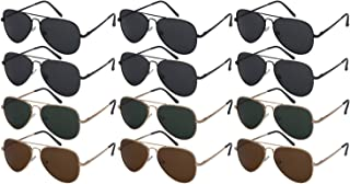Edge I-Wear 12 Pack Classic Bulk Wholesale Polarized Metal Aviator Sunglasses for Men Women UV400
