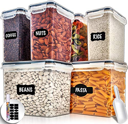 Large Airtight Food Storage Containers with Lids - Air Tight Containers for Food Flour Container Kitchen Storage Containers for Pantry Containers Flour Storage Containers Airtight Containers Set of 6