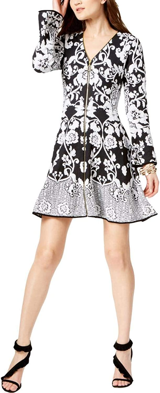 Inc Womens Bell Sleeves Knit Mini Dress B W XS Deep Black