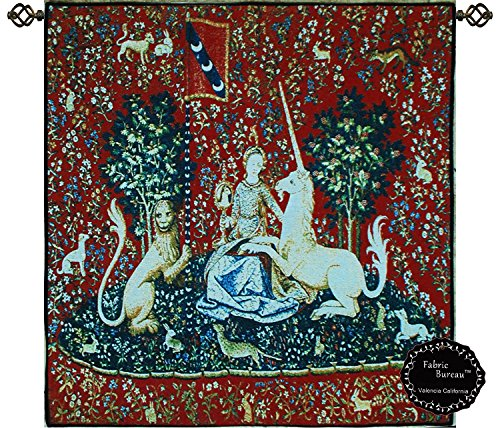 """Decor Plus Beautiful Sight-medieval Lady & Unicorn Lion Horse Jacquard Woven Tapestry Wall Hanging (Yw101) (30.5""""x 31.5"""")"""