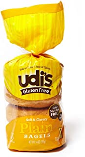 "Udi's Gluten-Free Plain Bagels, ""4 Count (Pack of 8)"