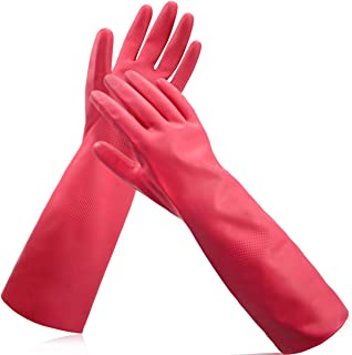 """Cleanbear Synthetic Rubber Gloves with Cotton Lining - Latex Free Household Cleaning Gloves, 15"""" (Size M, 2 Pairs)"""